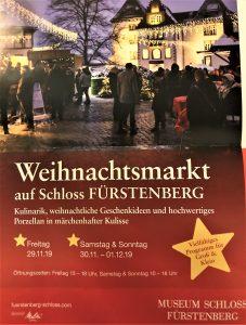 Weihnachtsmarkt 1. Advent Schloss Fürstenberg 29.11. bis 1.12.2019